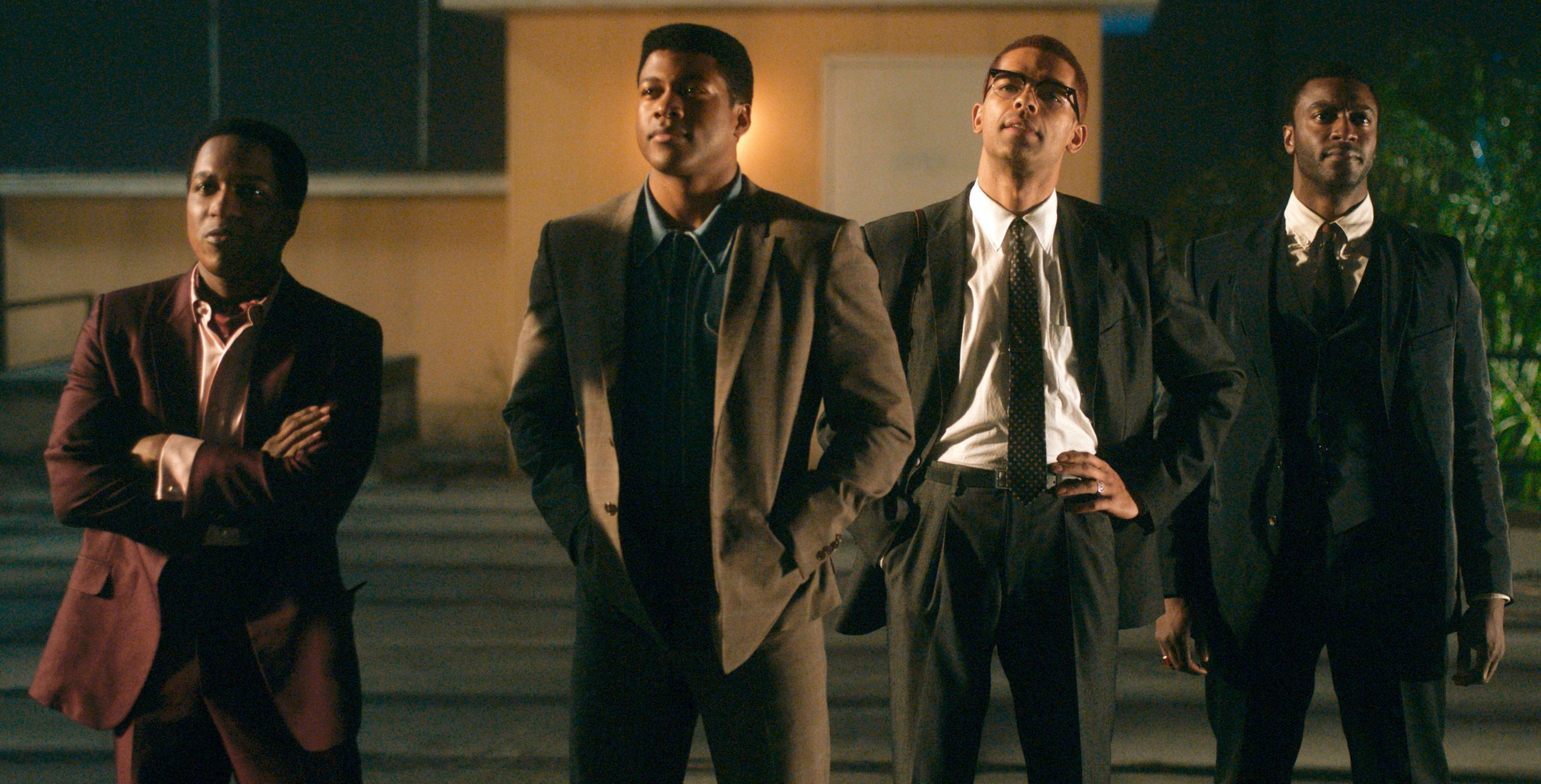 "Great men at night, looking for the light. 'One Night in Miami"" stars (L to R) Leslie Odom Jr. as Sam Cooke, Eli Goree as Muhammad Ali,, Kingsley Ben-Adir as Malcolm X, and Aldis Hodge as Jim Brown. (Photo courtesy of Amazon Studios)"