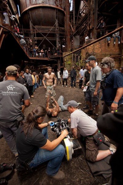 Filming at Carrie Furnaces:  the setting is awesome.  And Rodney Baze (Casey Affleck, center) is having a good fight.