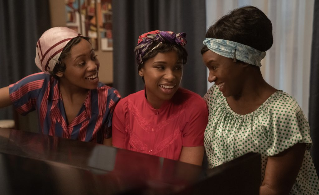 Carolyn Franklin (Hailey Kilgore, l.) with Franklin (Hudson, c.) and Erma Franklin (Saycon Sengbloh) as they work on Franklin's new version of the song 'Respect.'