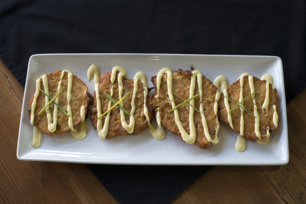 Experience cauliflower in a delicious new way with JC's Cauliflower Patties drizzled with lemon aioli..
