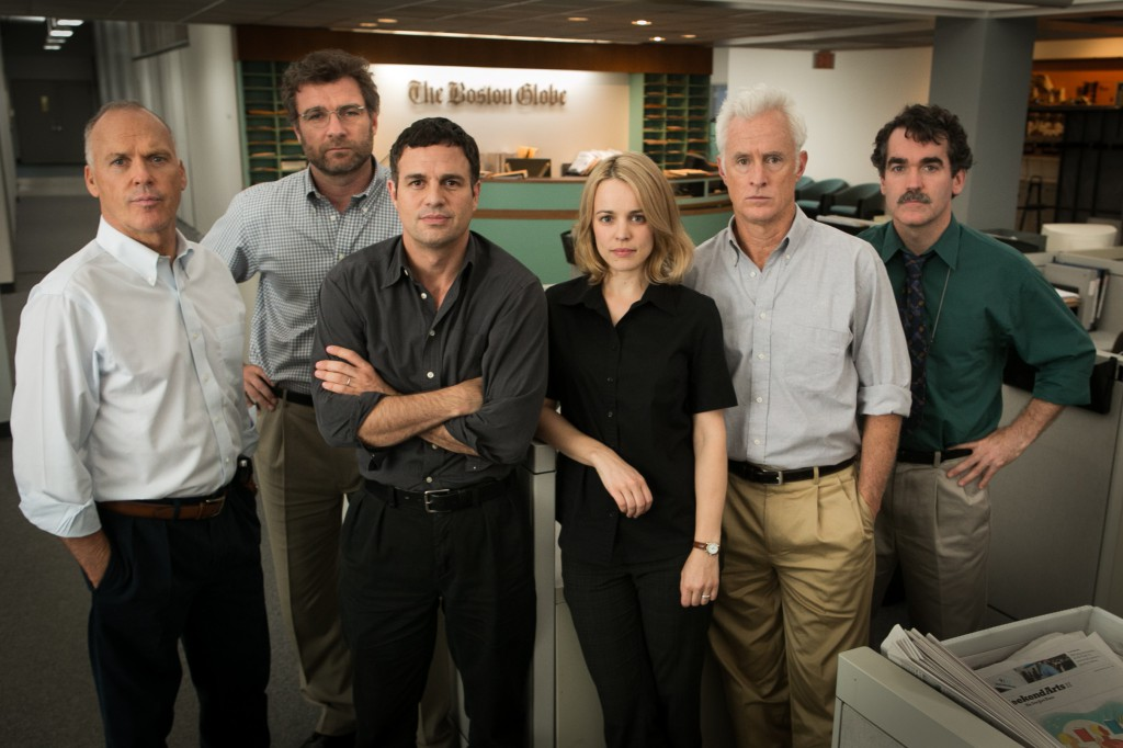 Michael Keaton as Walter 'Robby' Robinson, Liev Schreiber as Marty Baron, Mark Ruffalo as Michael Rezendes, Rachel McAdams as Sacha Pfieffer, John Slattery as Ben Bradlee Jr., and Brian d'Arcy James as Matt Carroll