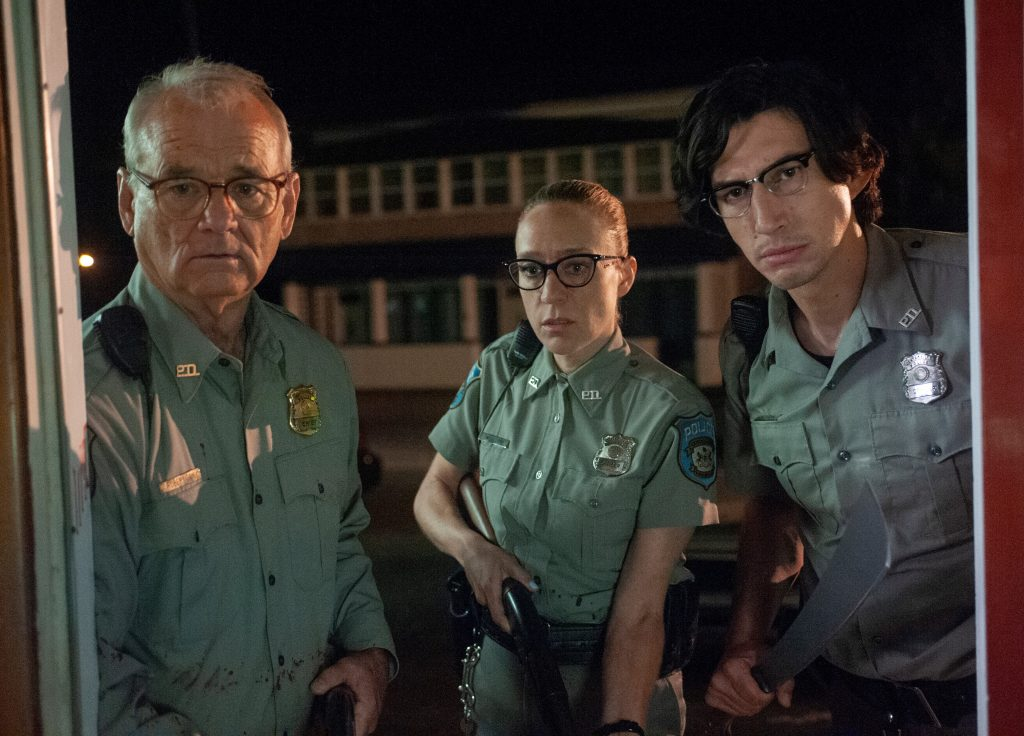 In 'The Dead Don't Die' (l. to r.) Centerville's Police Department is composed of Bill Murray as Officer Cliff Robertson, Chloë Sevigny as Officer Minerva Morrison and Adam Driver as Officer Ronald Peterson.