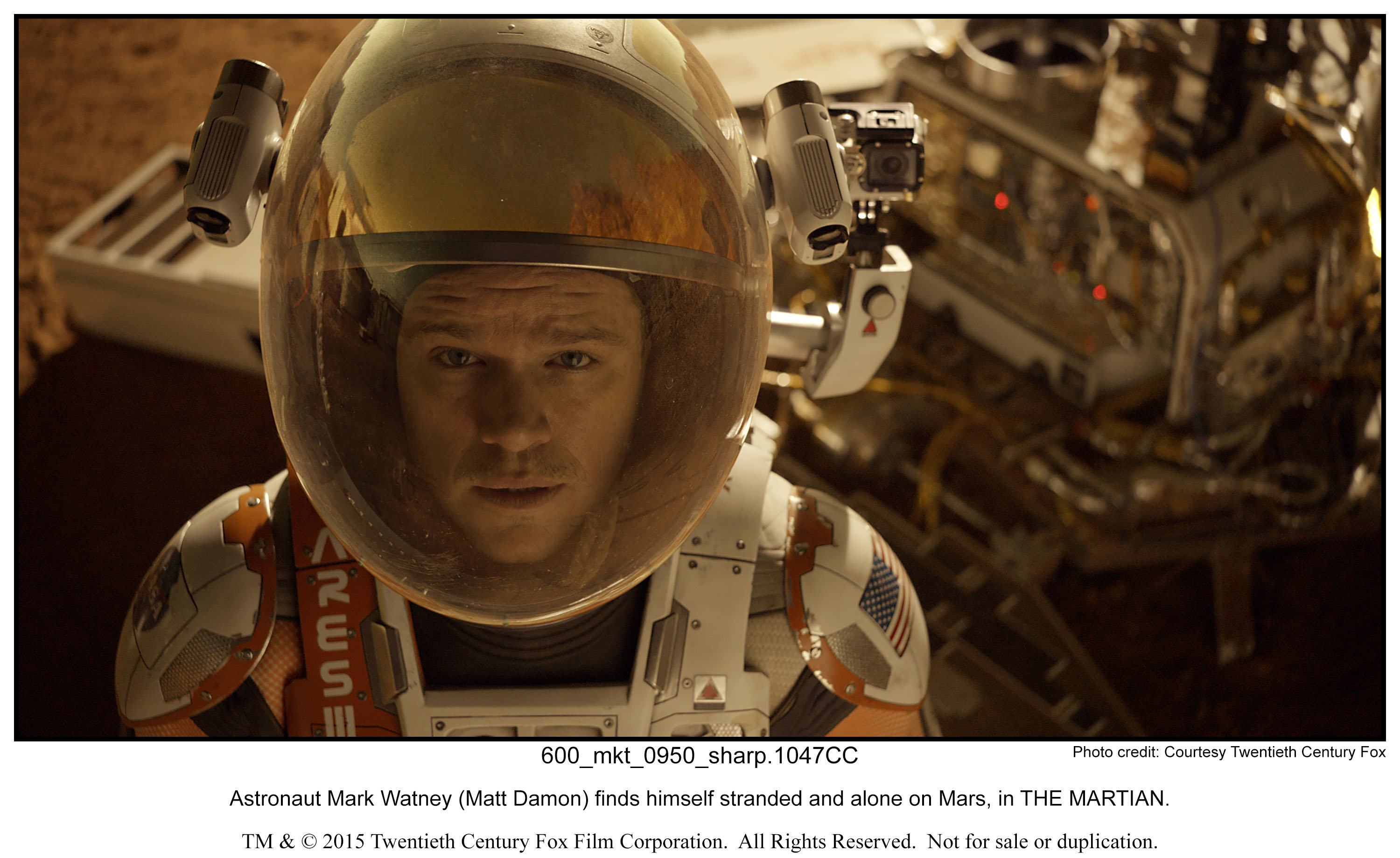 Astronaut Mark Watney (Matt Damon) finds himself stranded and alone on Mars, in THE MARTIAN.