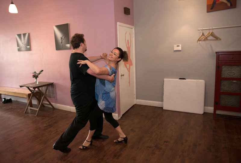 "Geoffrey Morgan and Krystyna Pawlowski practice waltzing at Los Sabrosos Dance Company. Los Sabrosos means ""the flavorful."""