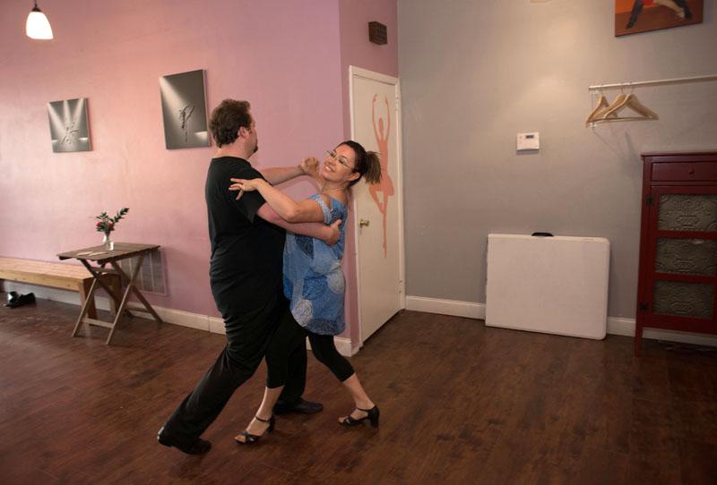 "Geoffrey Morgan and Krystyna Pawlowski practice waltzing at Los Sabrosos Dance Company. Los Sabrosos means ""the flavorful."""