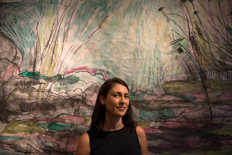"Artist Sarah Zeffiro with her mixed-media work ""Wading"" at Fieldwork Contemporary Gallery."