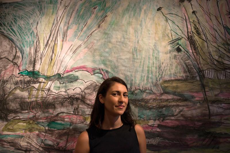 "Artist Sarah Zeffiro with her mixed-media work ""Wading"" at Fieldwork Contemporary Gallery."