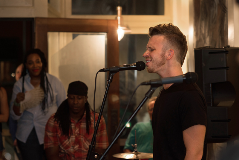 "Soulful singer Aaron Pfeiffer was visiting his hometown over the weekend and offered to perform at the Fieldwork show. He now lives in New York City and recently released his debut single ""Can't Shake This."""
