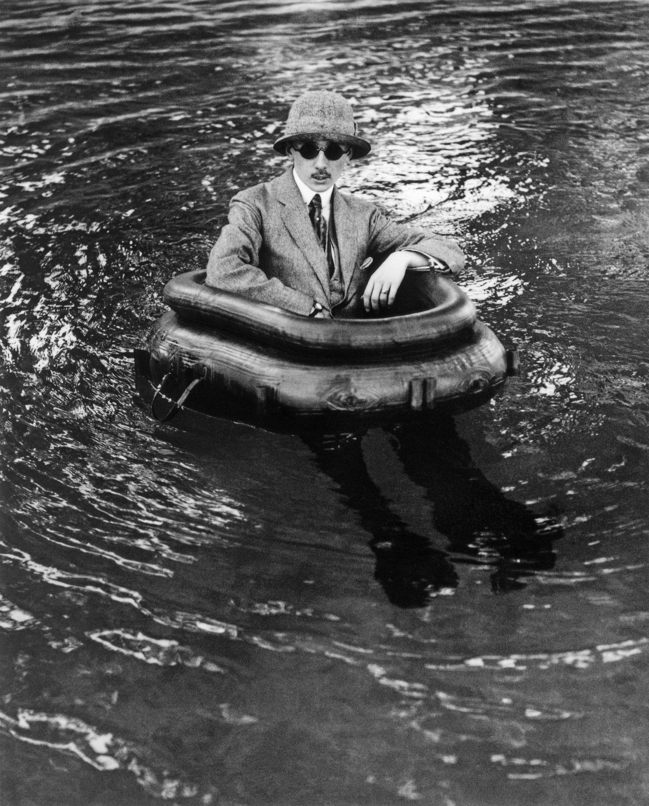 The state-of-the-art gentleman stays high and dry: Lartigue's brother Maurice, nicknamed Zissou, in a high-tech flotation device with rubber boots.